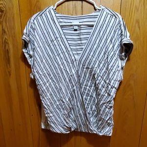 Striped, crossbody blouse